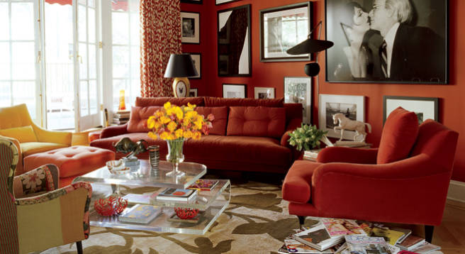 Great example of warming up a lounge room - image from elledecor.com