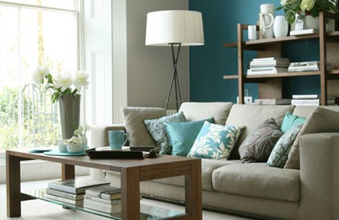 Come home and relax in a tranquil blue lounge room.  Image from dislive.com