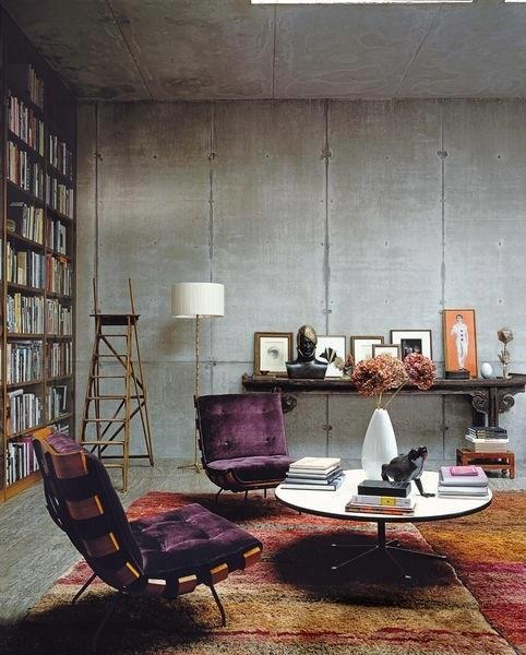 Brilliant deep purple chairs in velvet sitting on oversize warm toned floor rug - win!