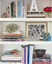 You can use books as book ends, add letters, fresh flowers, art, bowls, woodwork, trinkets and more.