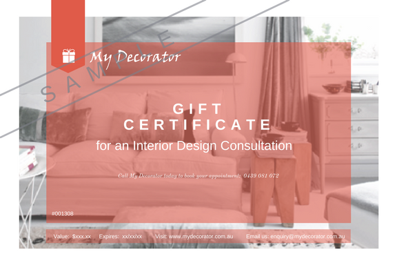 Looking for a gift for a loved one? My Decorator has Gift Certificates available for purchase. These can be put toward our Interior or Colour Consults, or even our Styling Sessions. Call and ask us today for more information.
